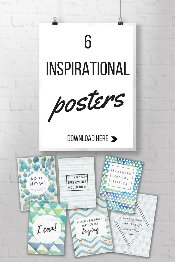 Inspirational posters with watercolor backgrounds