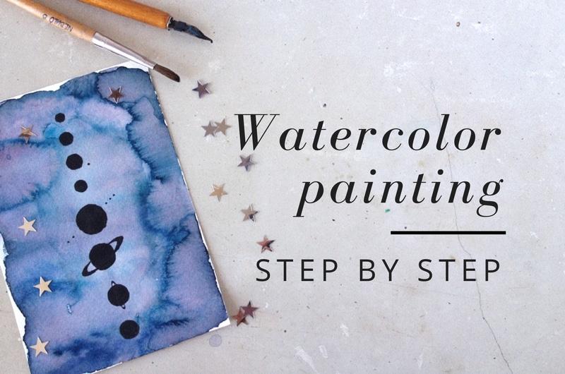 Watercolour painting class - minimalist Solar System