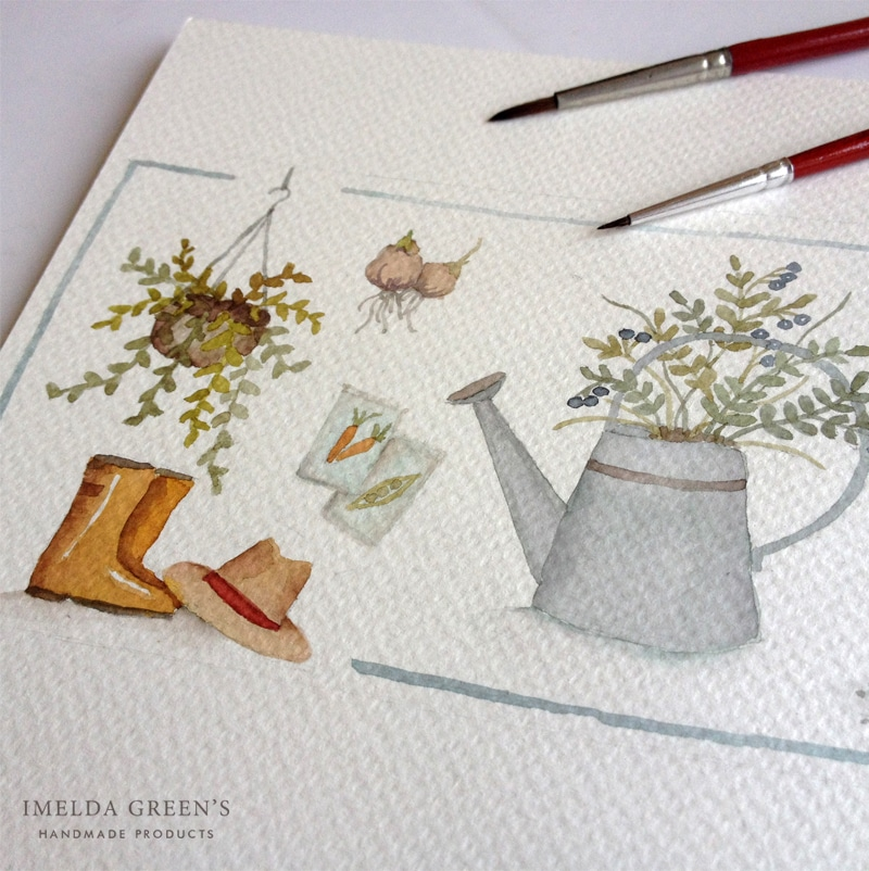 Garden watercolor illustration