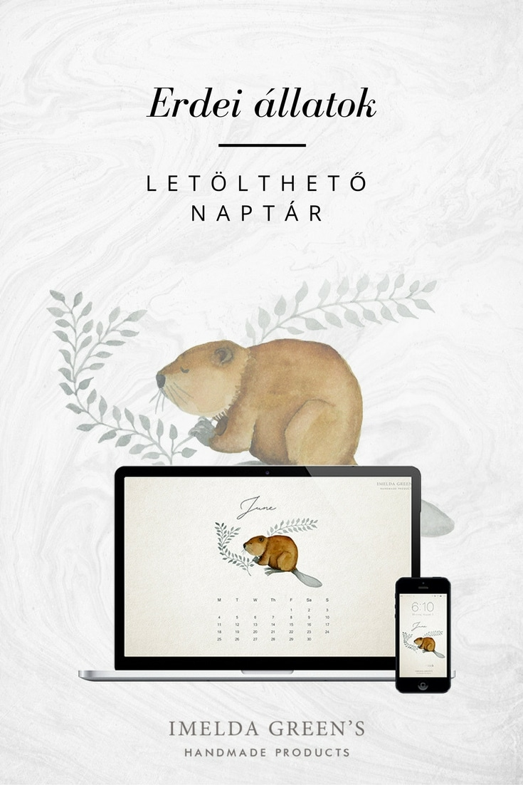 Forest animals - hand-painted watercolour wallpaper calendar