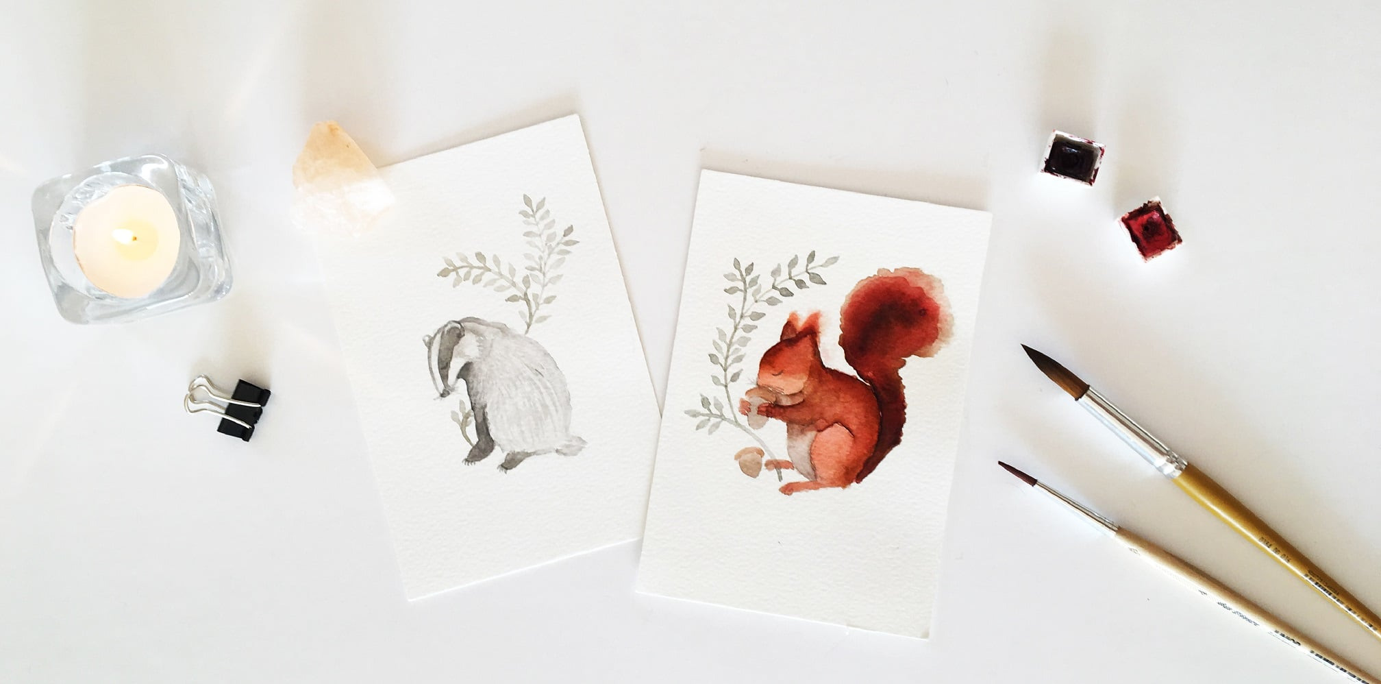 Forest animals - watercolor illustration