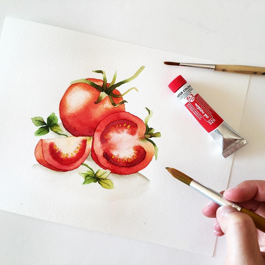 Watercolor Veggies - tomato