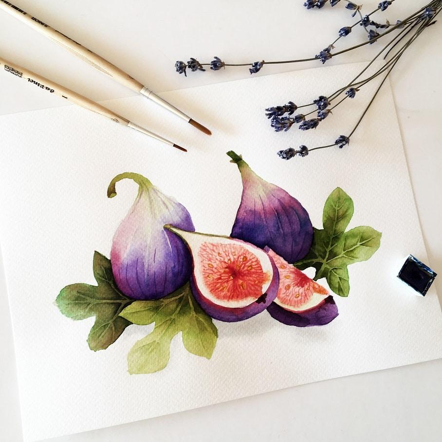Watercolor Veggies - fig