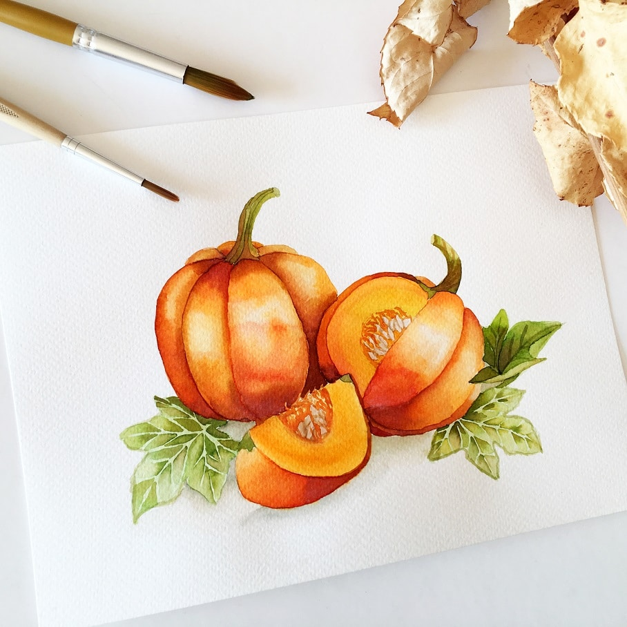 Watercolor Veggies - pumpkin