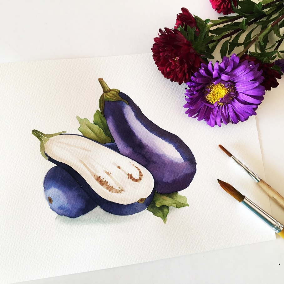 Watercolor Veggies - aubergine