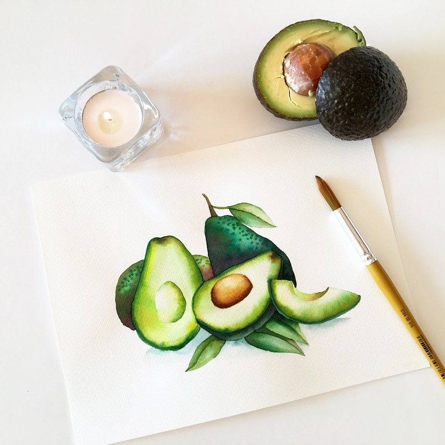 Watercolor Veggies - avocado