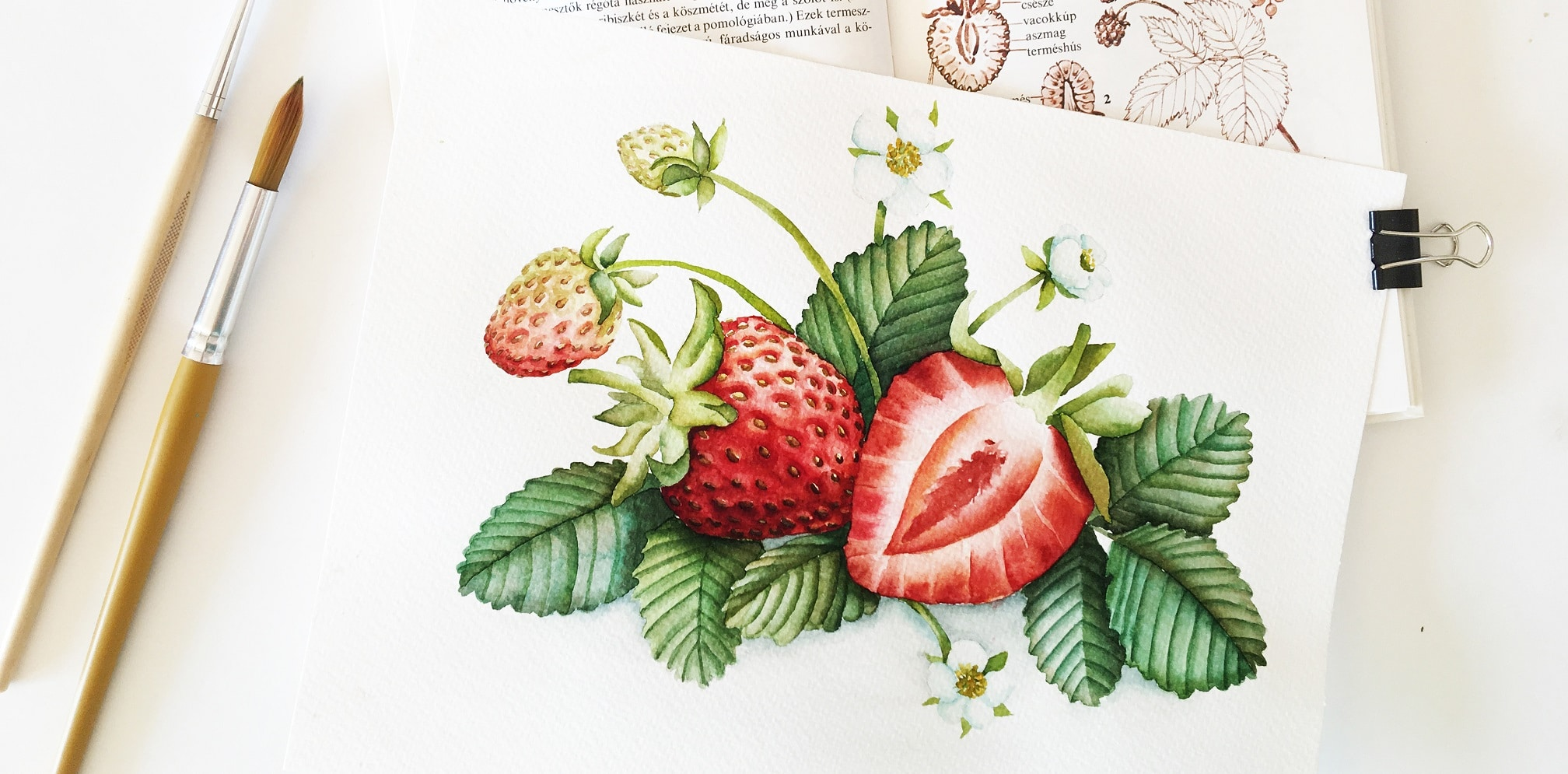 Watercolor Veggies - strawberries