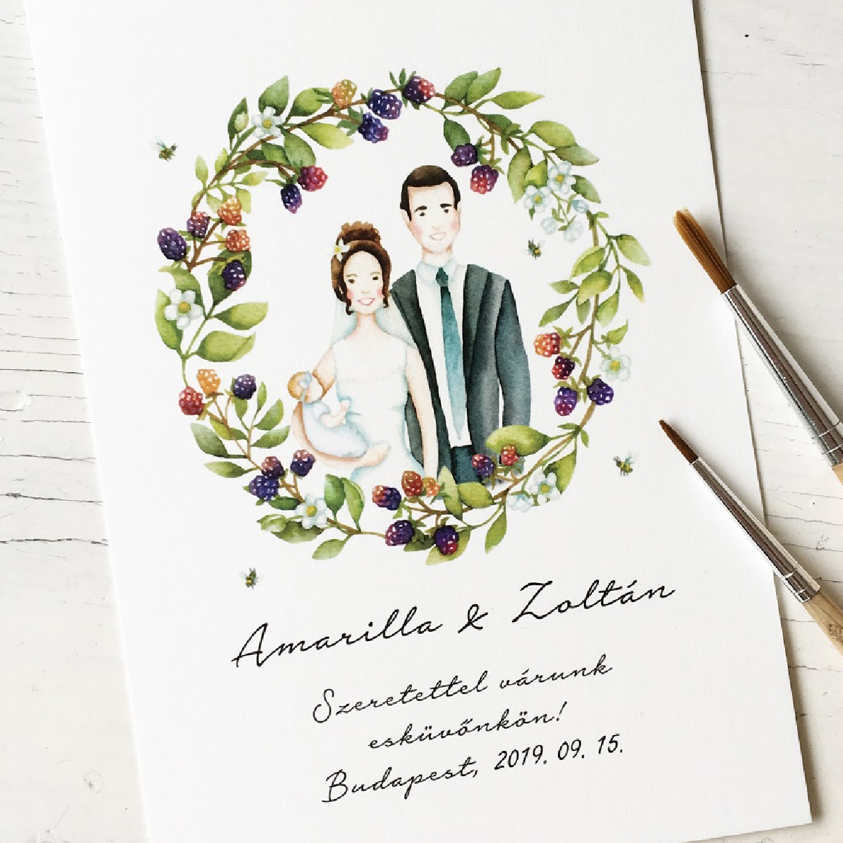 Wedding invite - custom watercolor illustration
