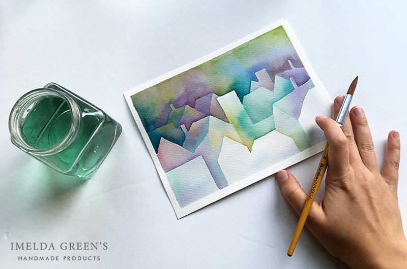 Negative painting - city illustration - a step by step watercolor tutorial