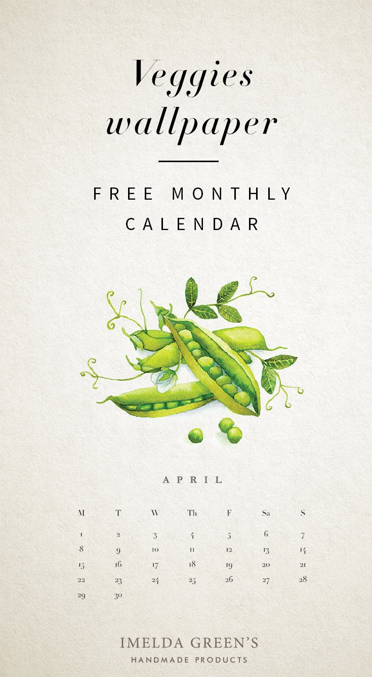 Veggies monthly calendar | Free wallpaper | hand-painted watercolor food illustration