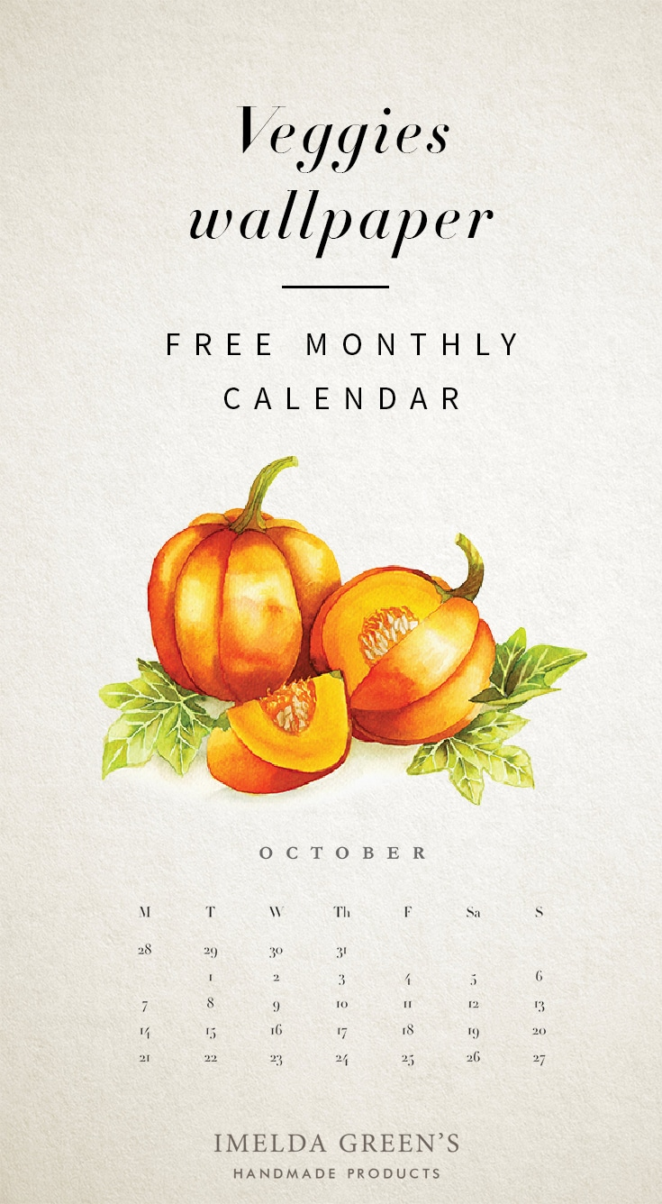 Veggies monthly calendar | Free wallpaper | hand-painted watercolor pumpkin | food illustration