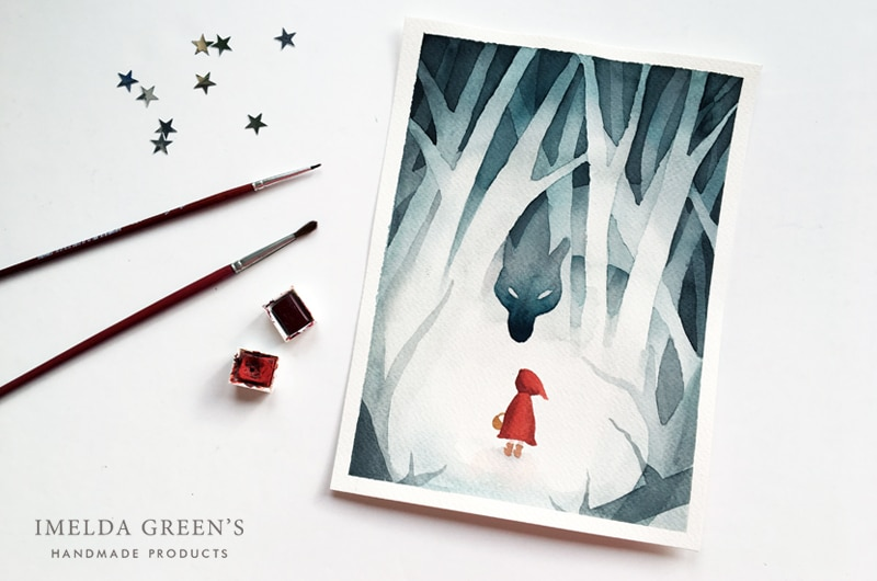 Little Red Riding Hood - watercolor illustration