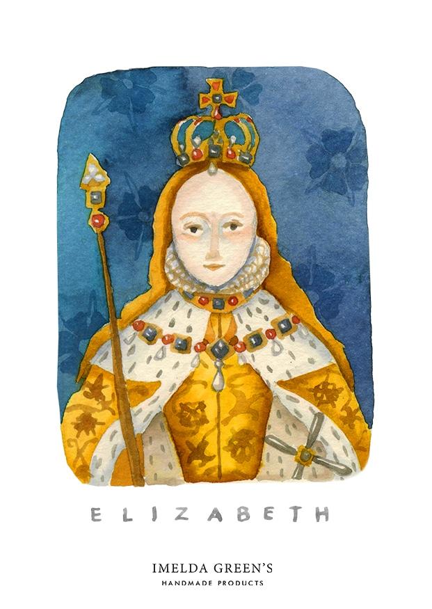 Watercolour portrait | Elizabeth I - Coronation portrait | 3 inspirational queens for women's day