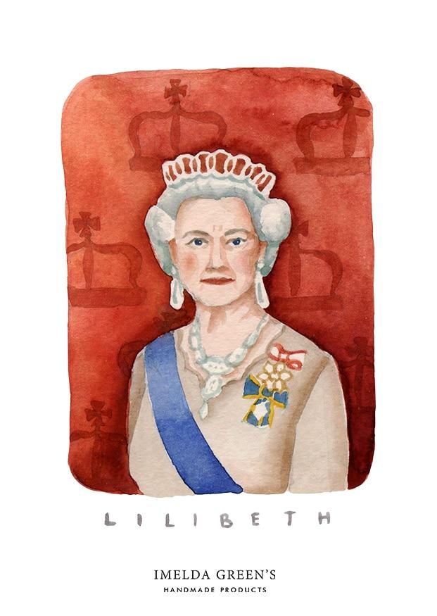 Watercolour portrait | Elizabeth II | 3 inspirational queens for women's day