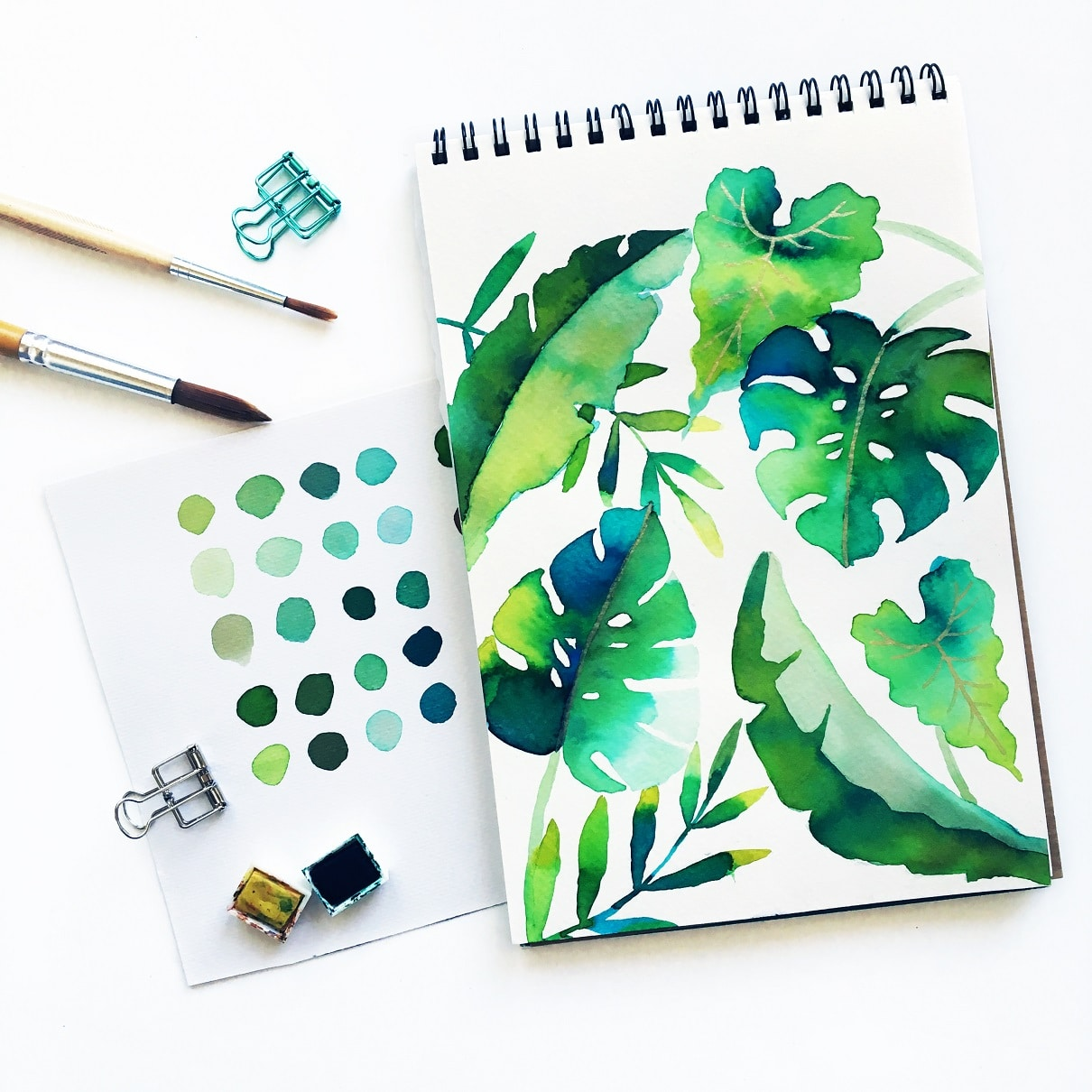 watercolor tropical plant leaves
