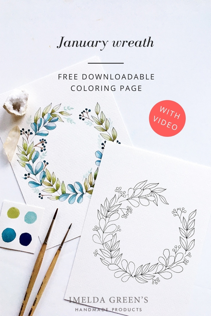 Downloadable colouring page - January floral wreath - watercolour