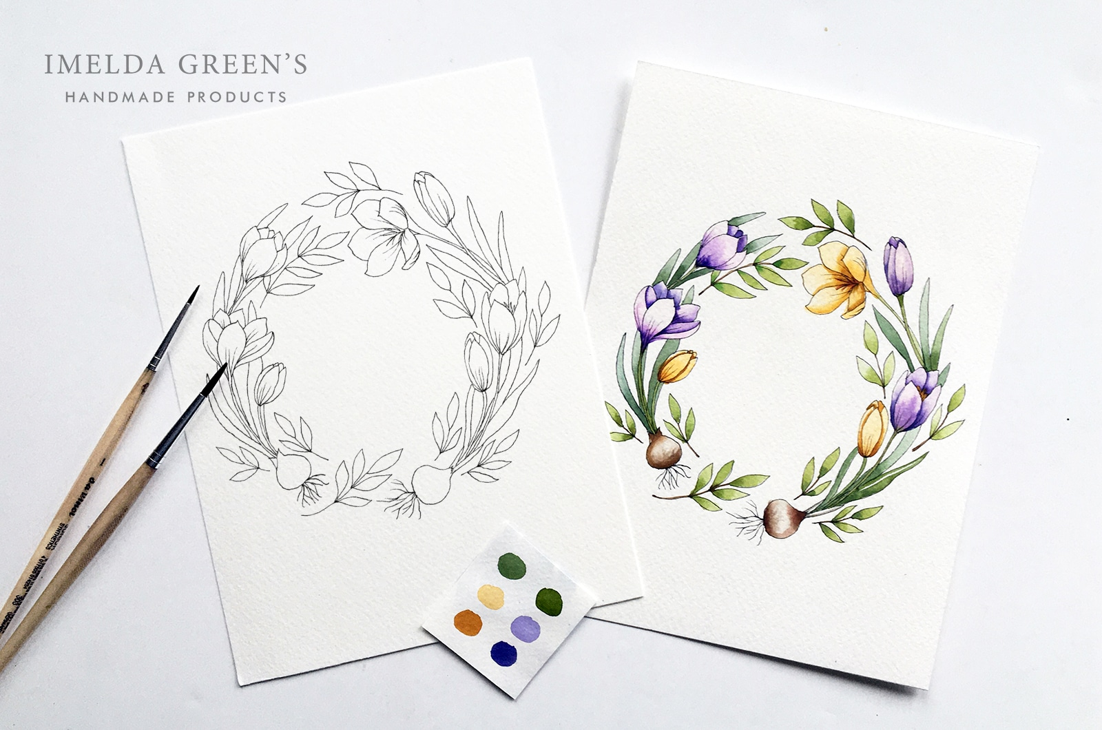 Downloadable colouring page - January floral wreath - watercolour tutorial | March