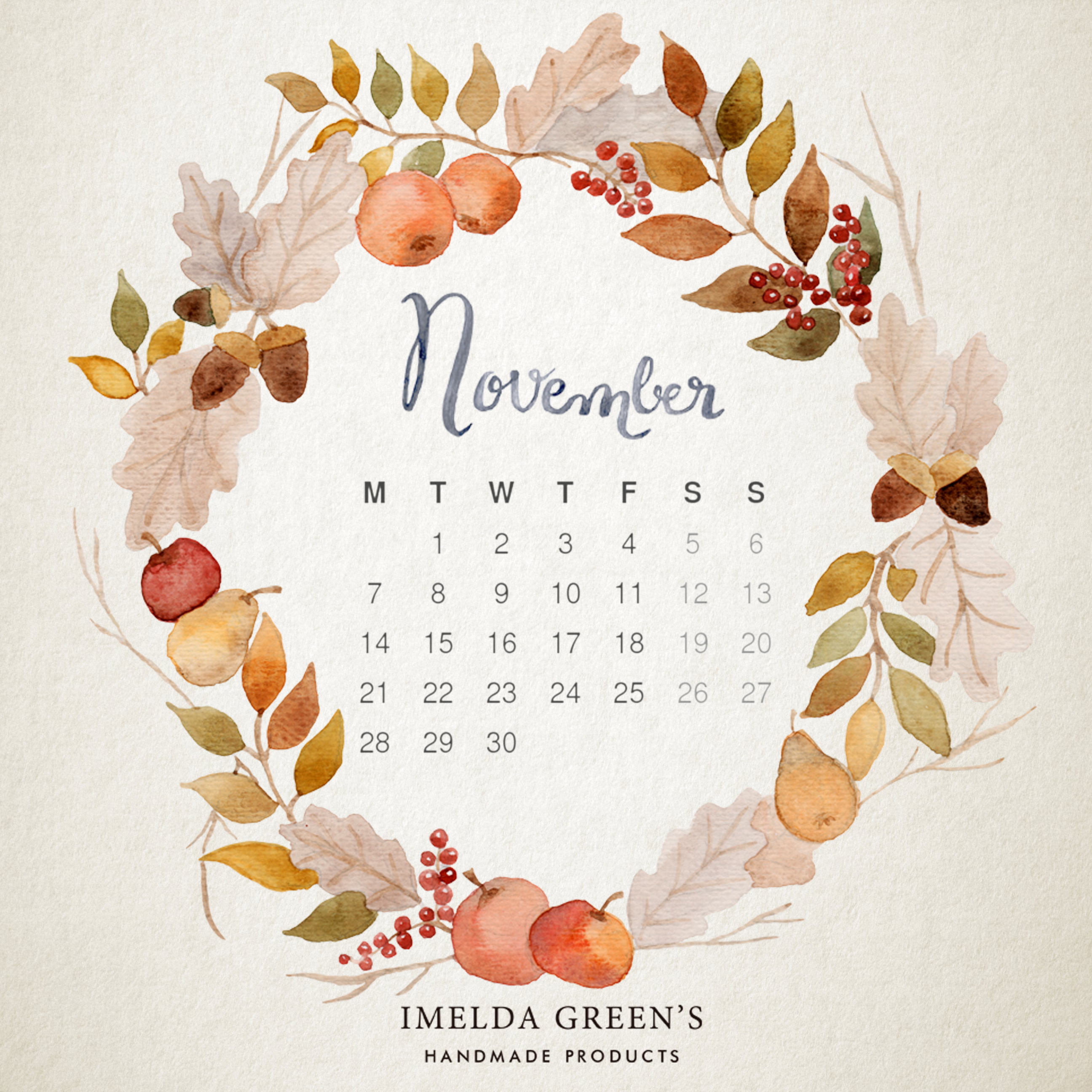 Hand-painted wallpaper calendar free download