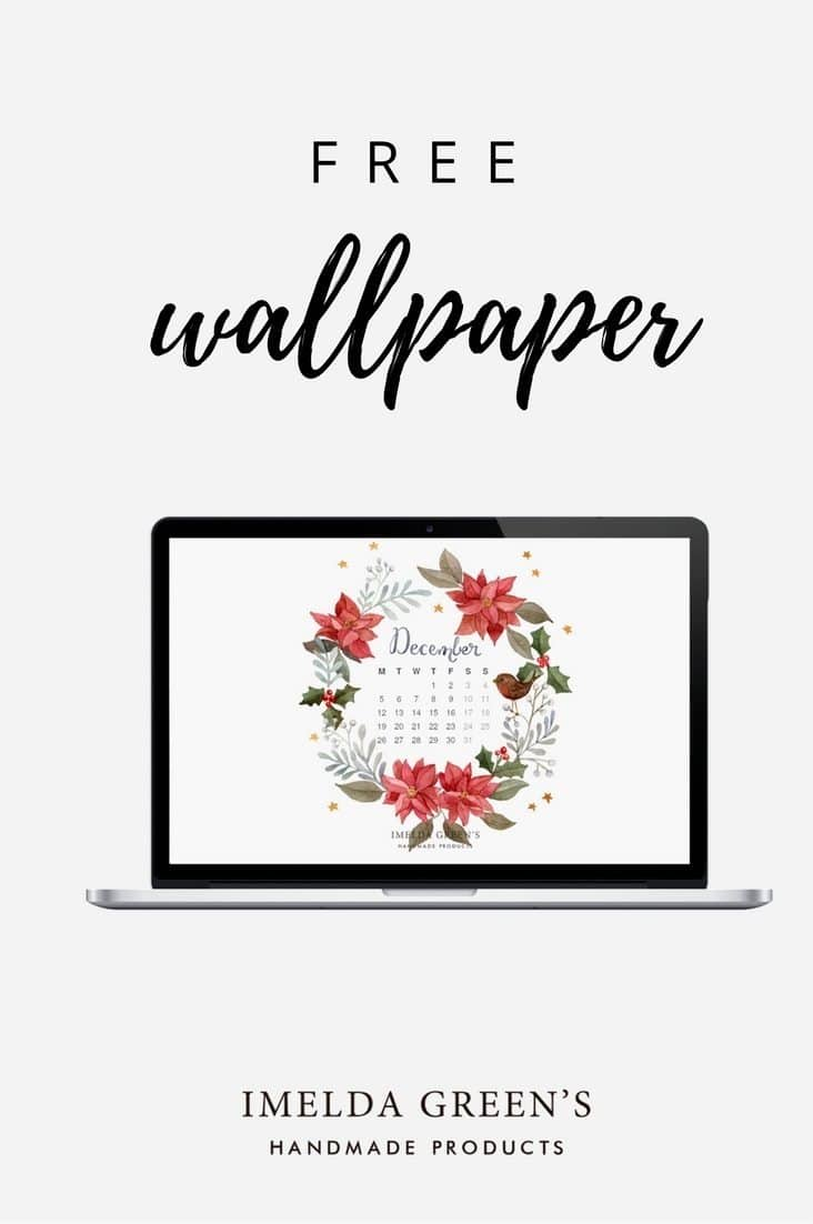 Hand-painted wallpaper calendar for December, free download