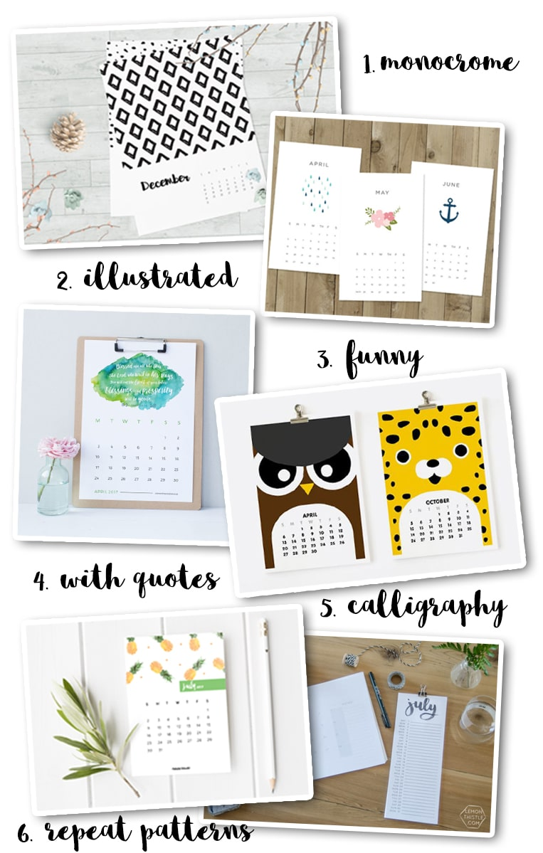 Make your own calendar for 2017 - inspiration