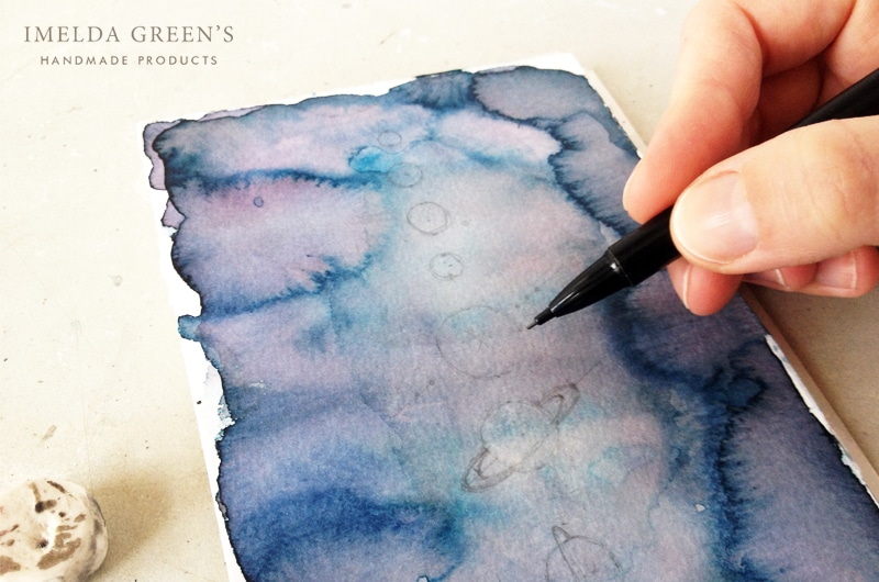Watercolor tutorial - the solar system