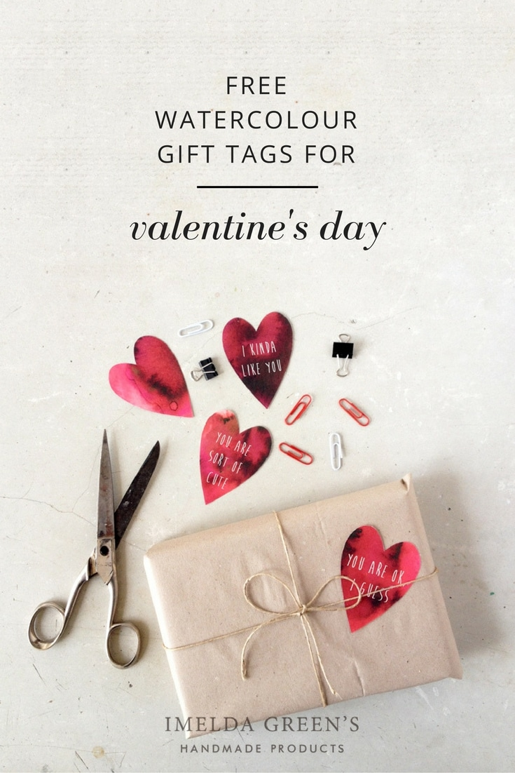 FREE downloadable watercolour gift tags for Valentine's Day