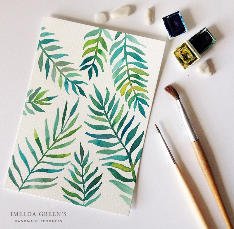 Watercolor palm leaves - join the one week art challenge
