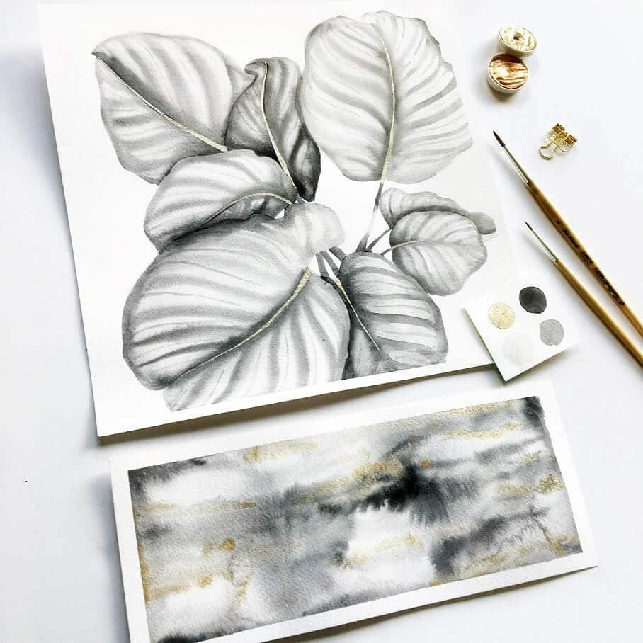 Inktober - watercolor houseplants