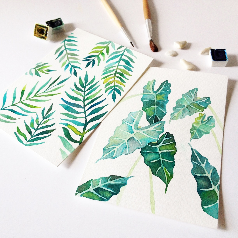 Watercolor florals - tropical plants