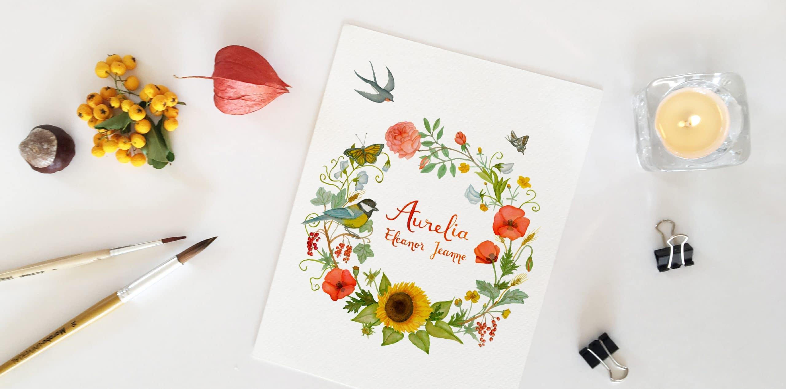 Watercolor florals - wild wreath