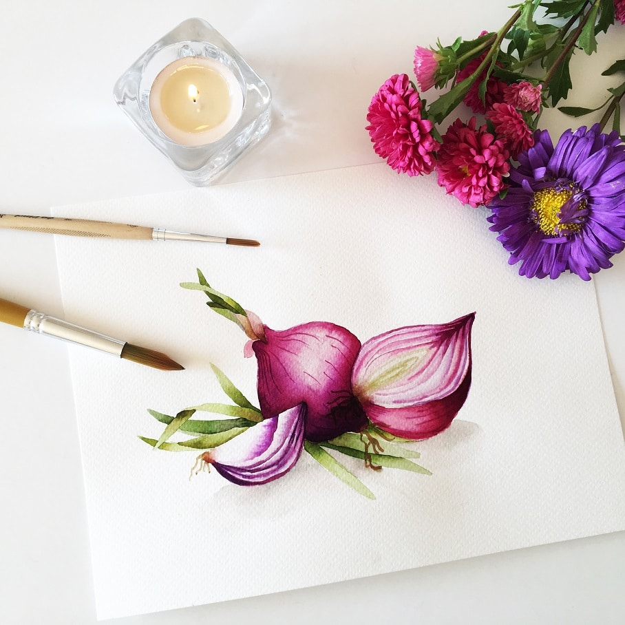 Watercolor Veggies - red onions