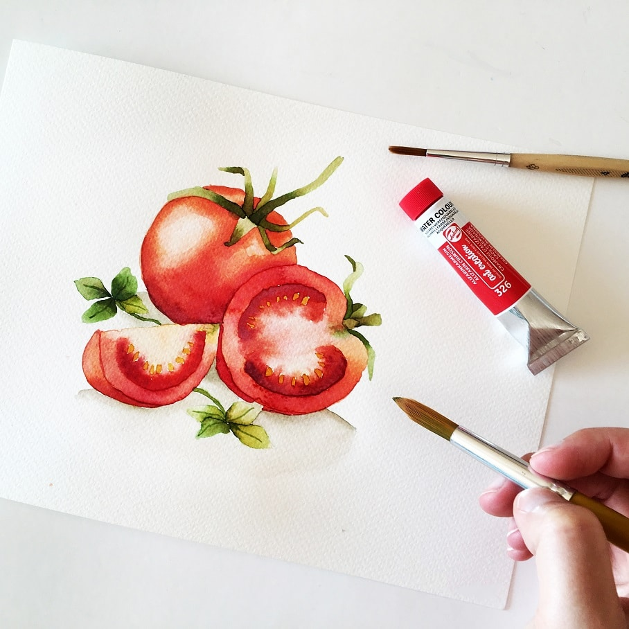 Watercolor Veggies - tomato