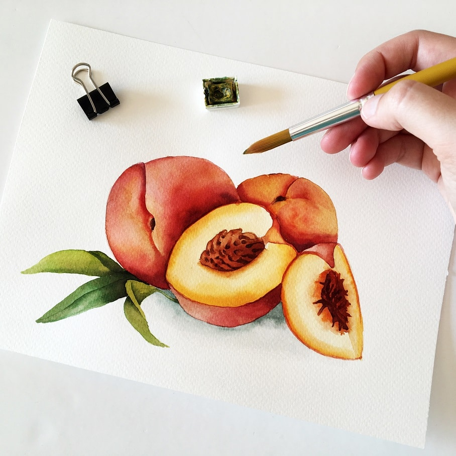 Watercolor Veggies - peach