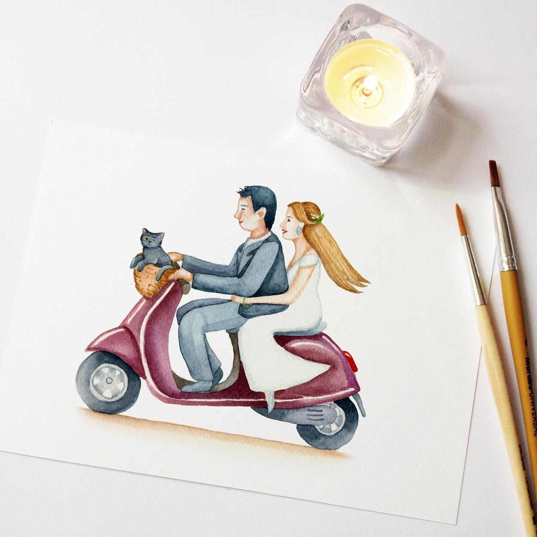 Wedding invite - custom watercolor illustration