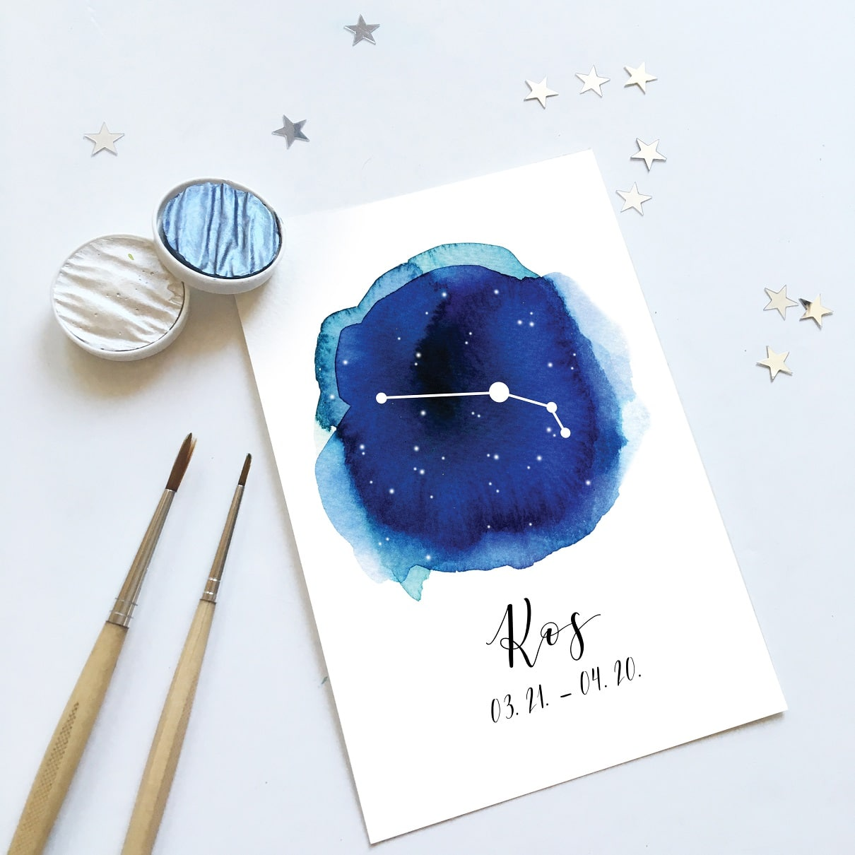 Watercolor constellation | galaxy painting | Aries