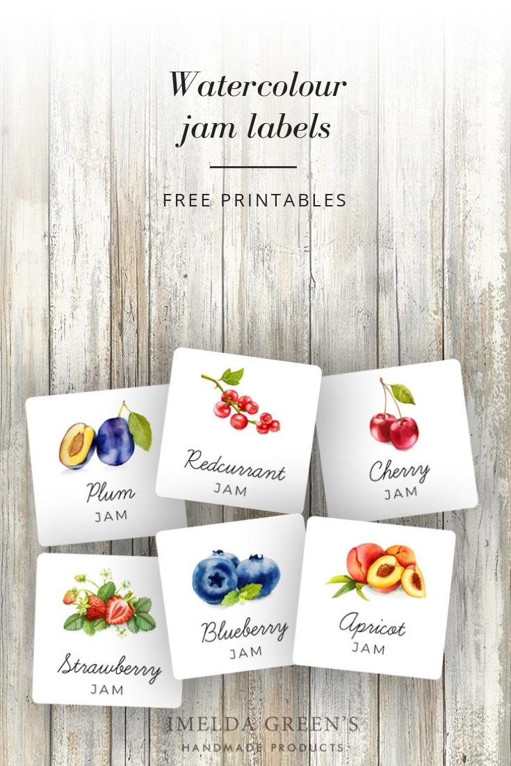 Watercolor fruit | Printable jam labels