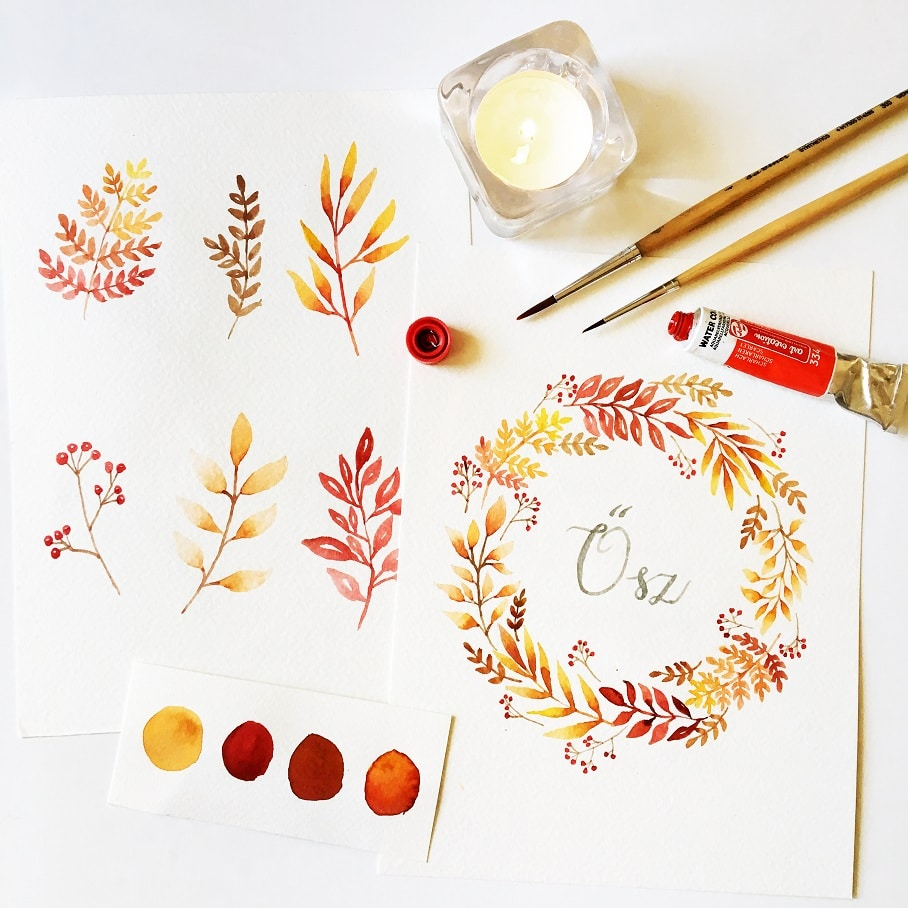 autumn watercolor wreath