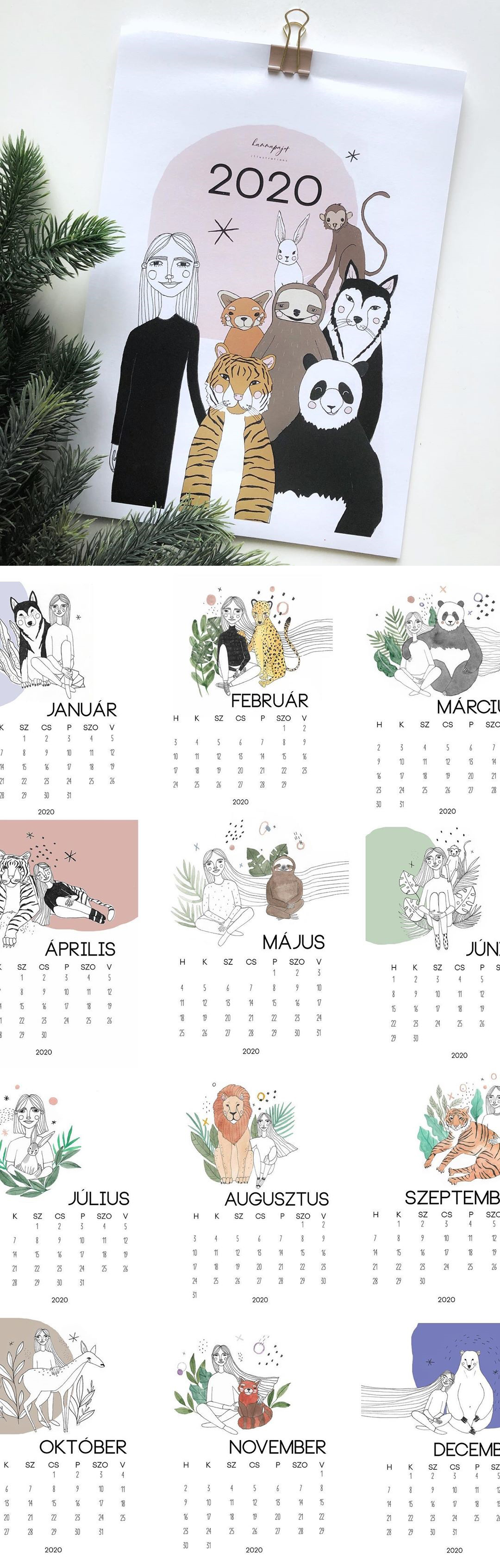 Create your own calendar in 2020 - downloadable blank calendar template | Hanna Pajor Illustration