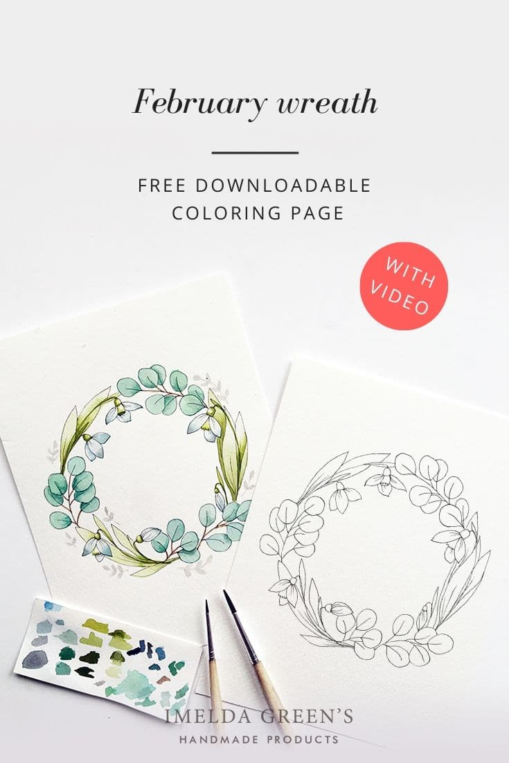 Downloadable colouring page - January floral wreath - watercolour tutorial | February