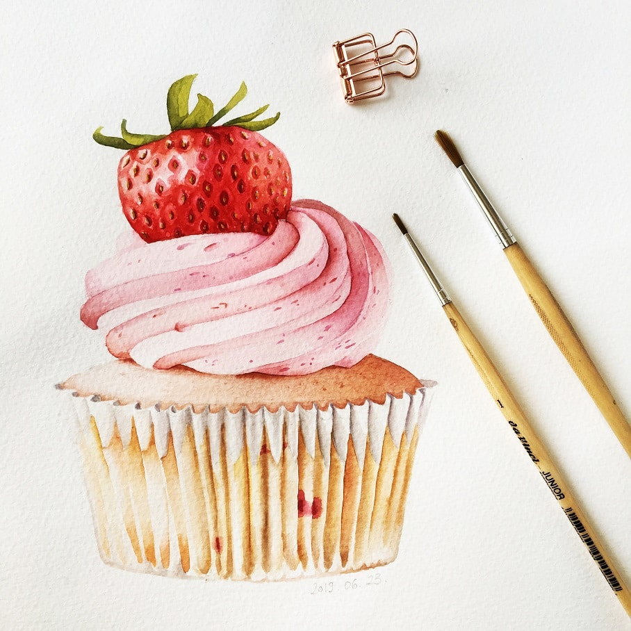 food illustration - strawberry cupcake