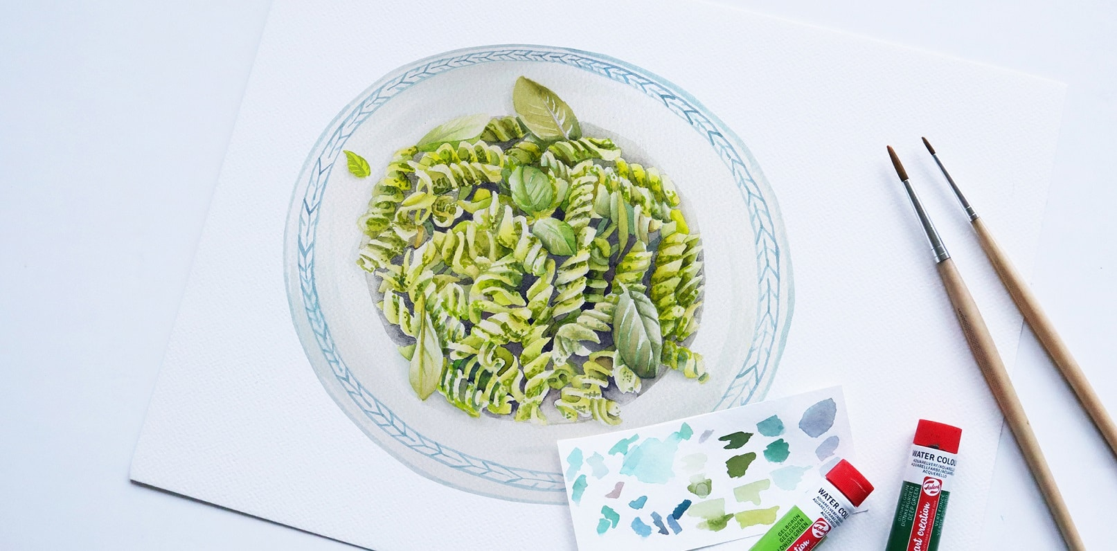 food illustration - pesto pasta - fussili