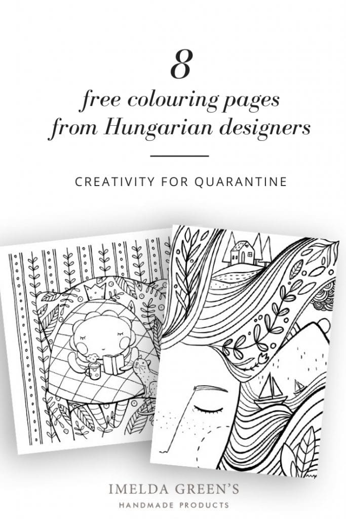 8 free colouring pages by Hungarian Designers