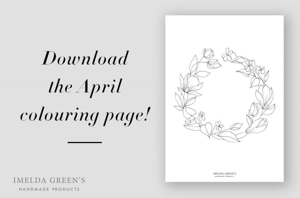Downloadable colouring page | April floral wreath - watercolour tutorial