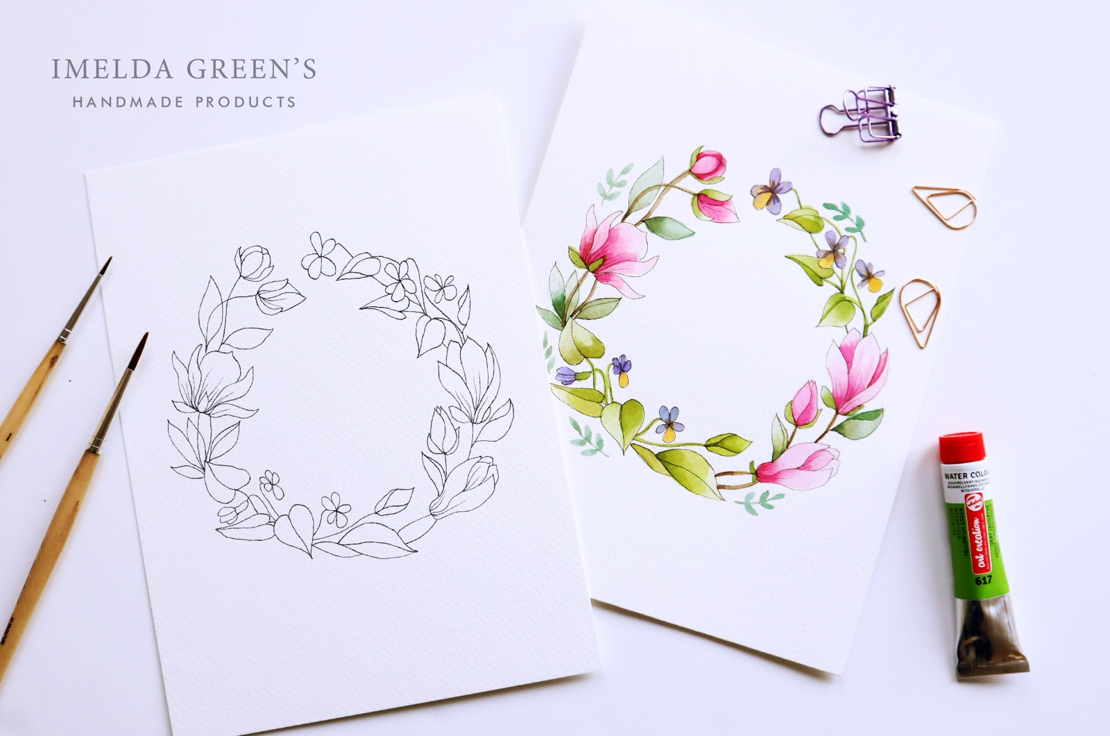 Downloadable colouring page | April floral wreath - watercolour tutorial