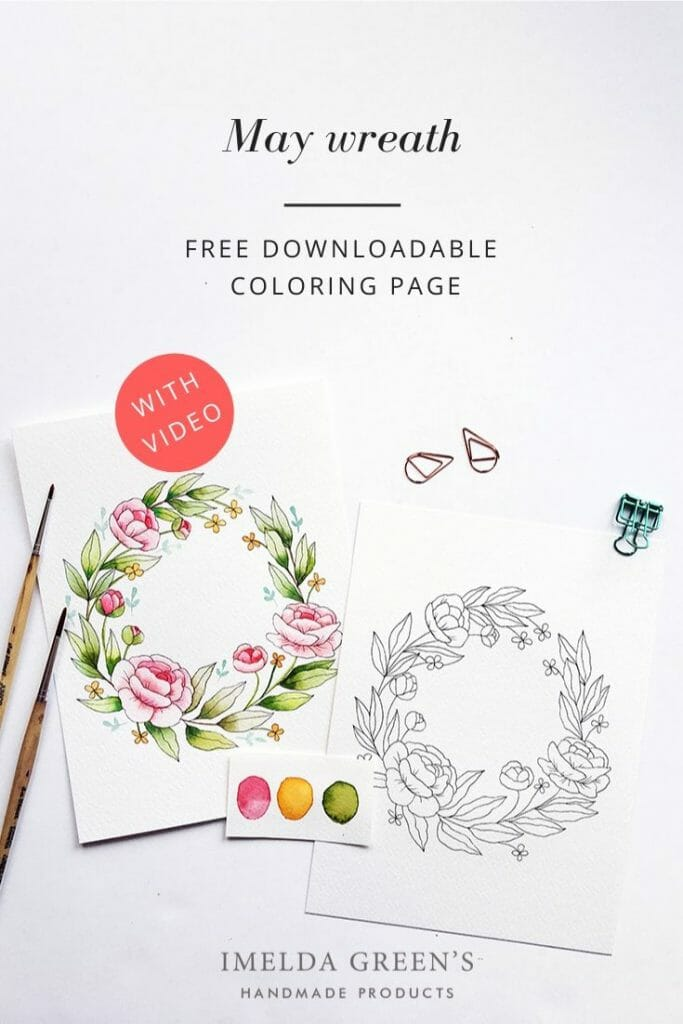 Downloadable colouring page | May floral wreath - watercolour tutorial