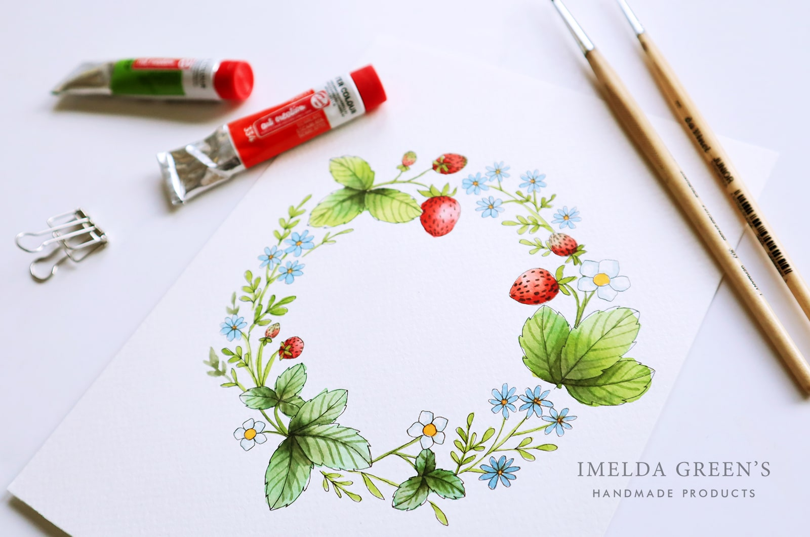 Downloadable colouring page | June floral wreath - watercolour tutorial