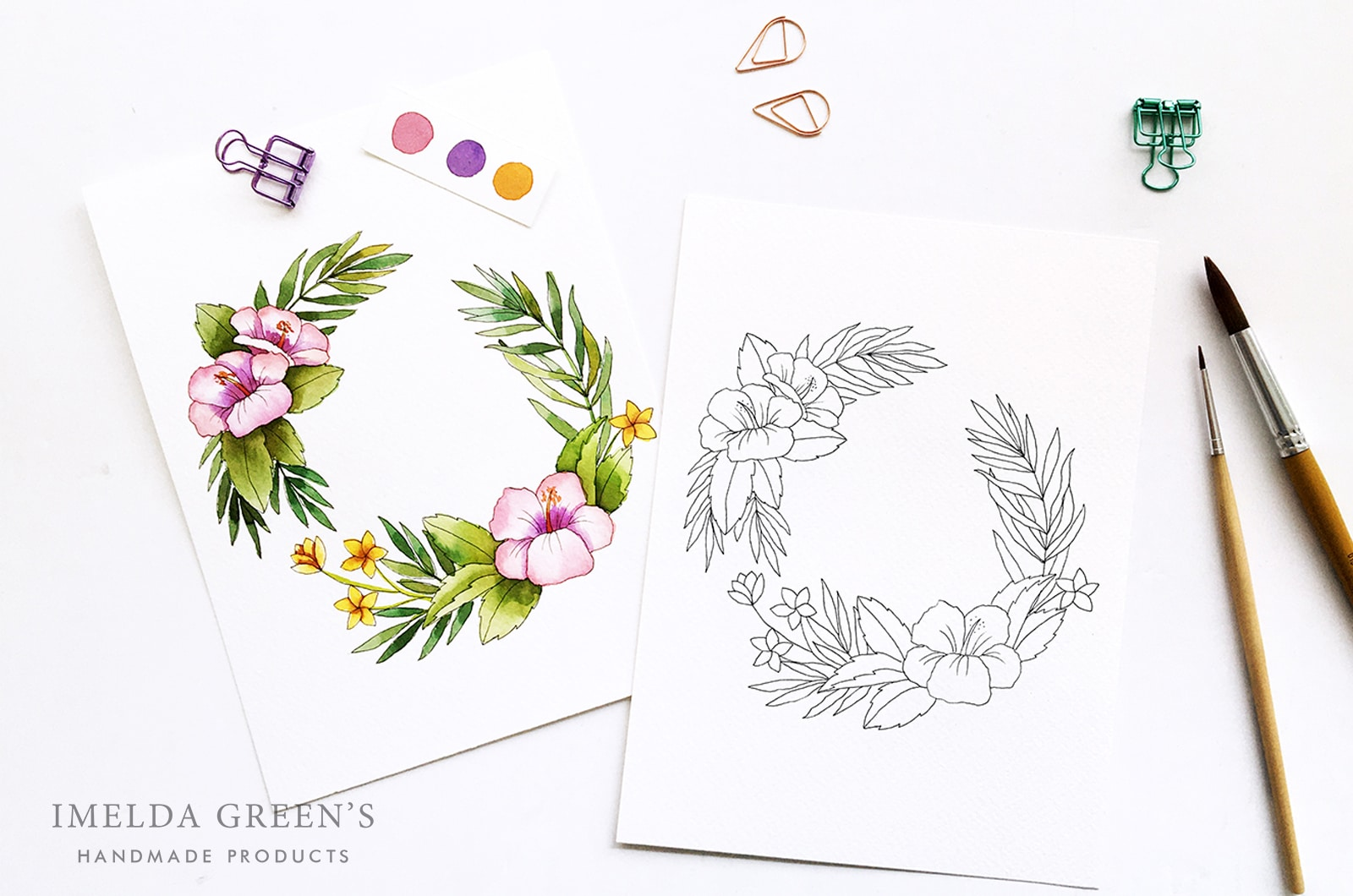 Downloadable colouring page | July floral wreath - watercolour tutorial