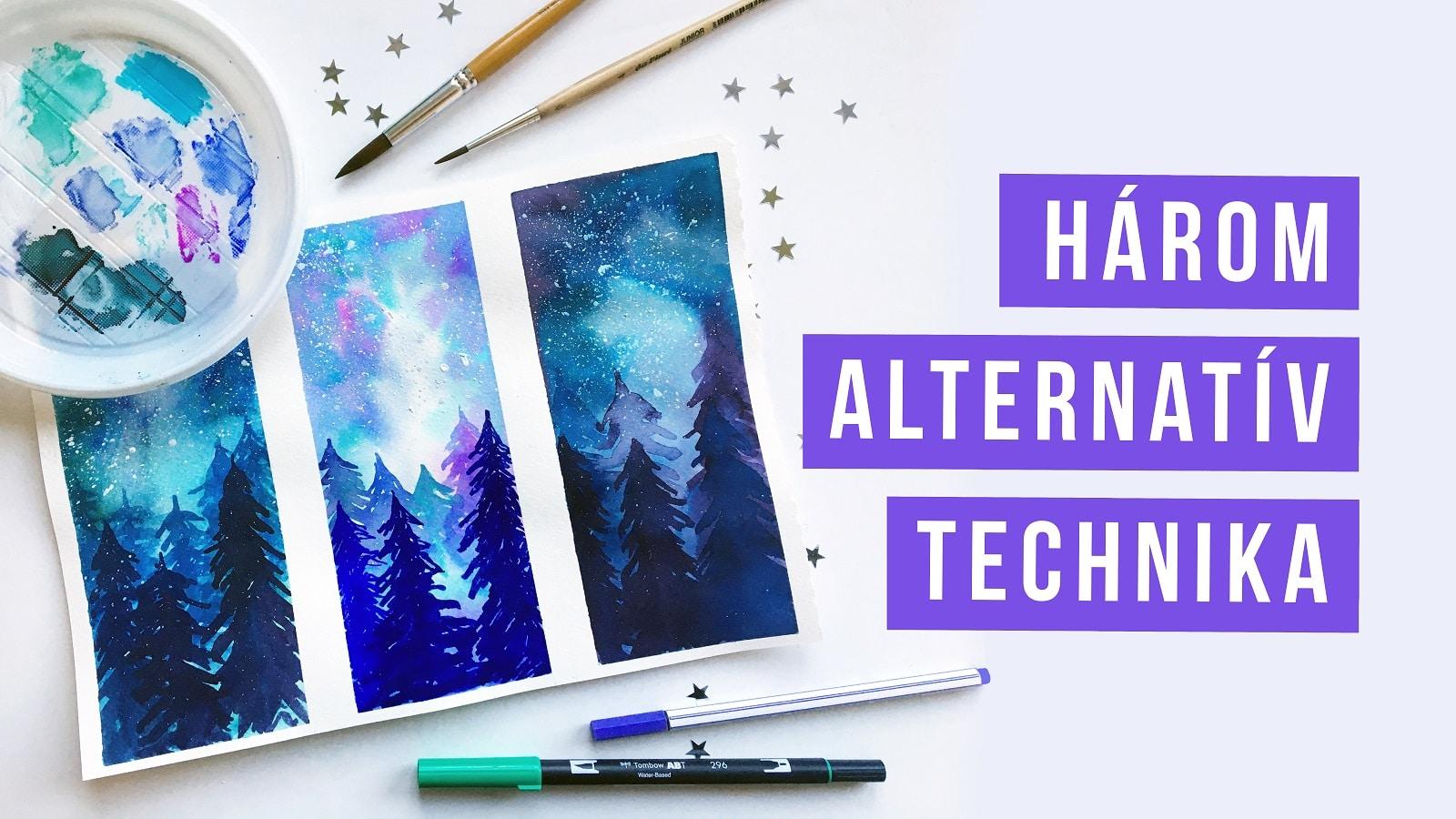 3 alternatív akvarell technika | akvarellceruza | ecsetfilc | fapác