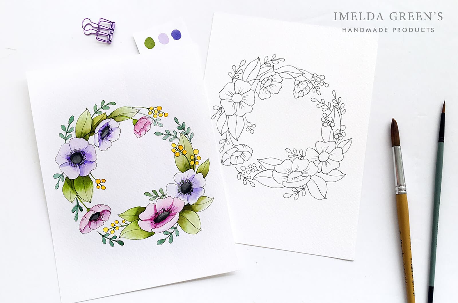 Downloadable colouring page | August floral wreath - watercolour tutorial