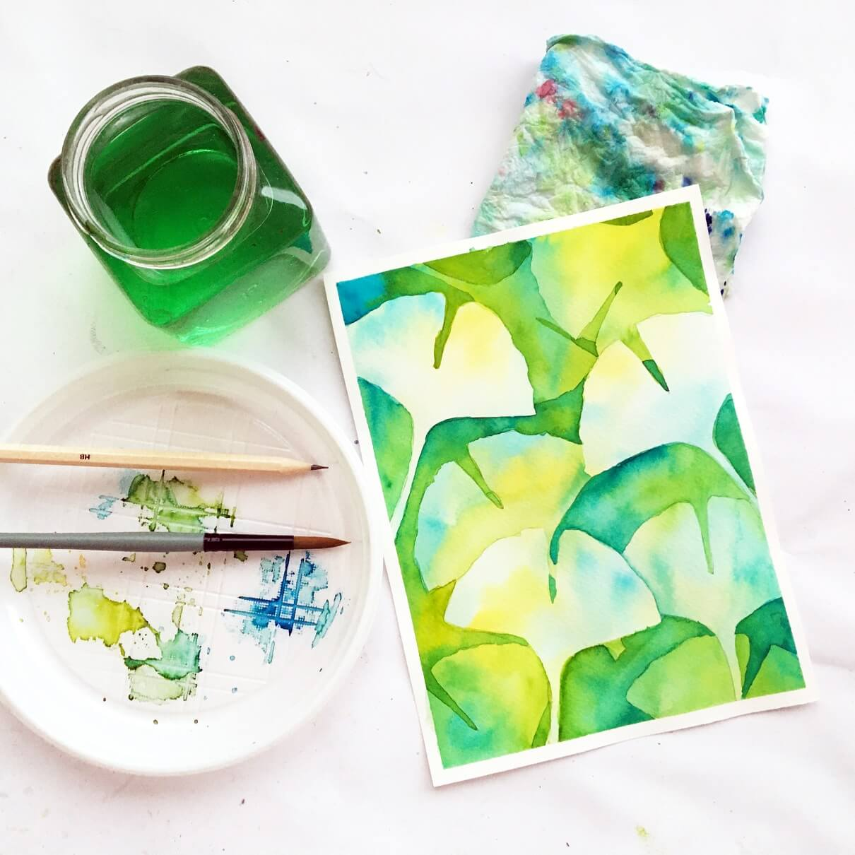 Negative painting in watercolor | Ginkgo biloba leaves | skillshare class for beginners